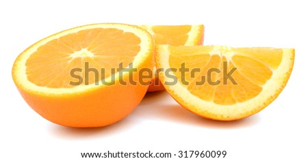 yellow orange slices on white background  - stock photo