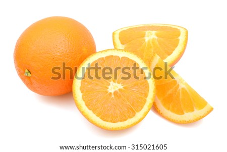 yellow oranges isolated on white  - stock photo