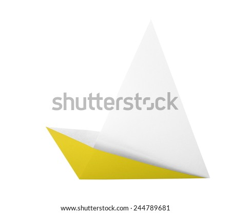 yellow origami boat isolated on white background