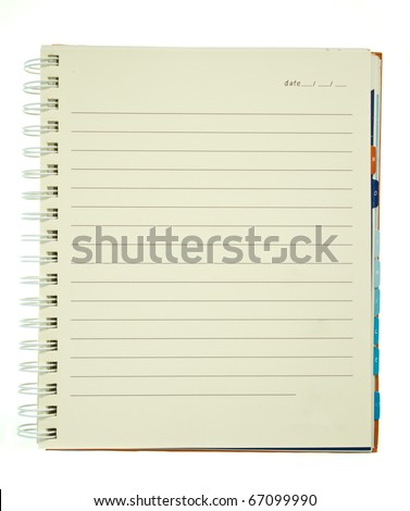 Yellow page spiral notebook with alphabet tab isolated on white background - stock photo