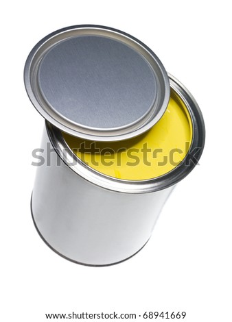 Yellow Paint can isolated on white background