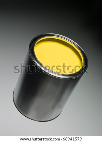 Yellow Paint can on toned background