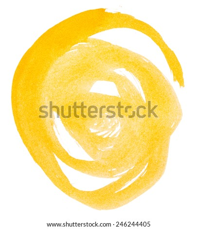Yellow paint isolated on white background - stock photo