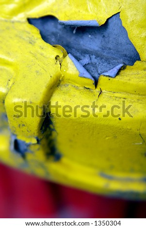 Yellow paint peeling. - stock photo