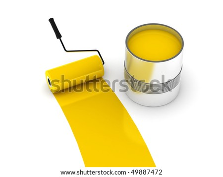 Yellow paint. Roller and steel can isolated on white background. High quality 3d render. - stock photo