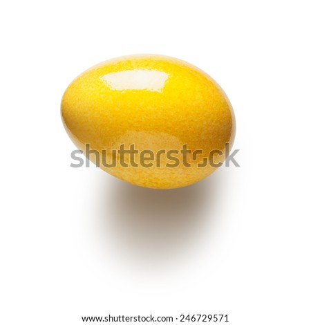 Yellow painted easter egg isolated on white background. Object with clipping path  - stock photo