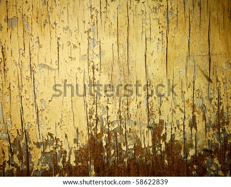Yellow painted weathered wood texture. - stock photo