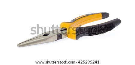 yellow pair of needle-nose pliers isolated on a white background. - stock photo