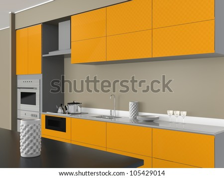 yellow panels of modern design system kitchen