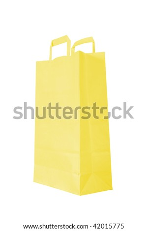 yellow paper bag is on white background