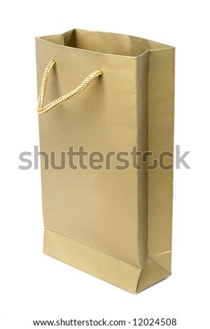 yellow paper bag isolated on white - stock photo