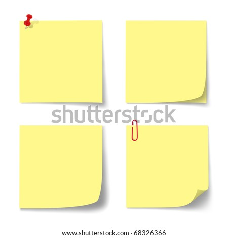 yellow paper note on isolated. - stock photo