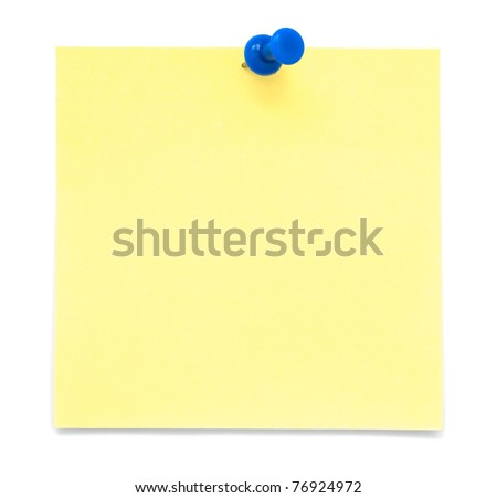 Yellow Paper Note with Blue Pushpin - stock photo