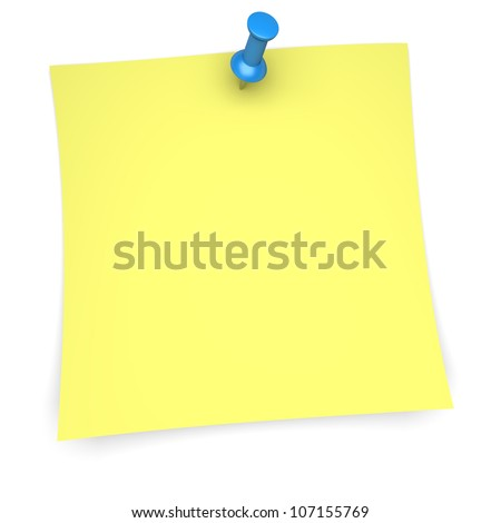 Yellow paper note with blue pushpin. 3d image