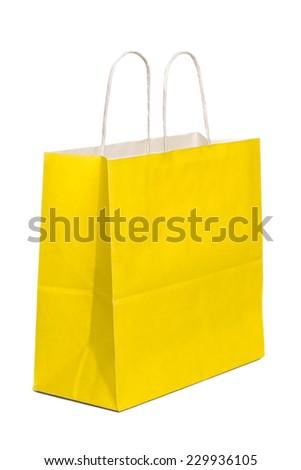 Yellow Paper Shopping Bag On White Background - stock photo