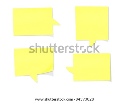 Yellow paper speech bubbles - stock photo