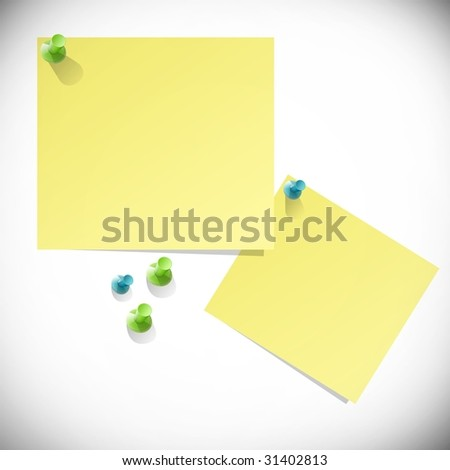 Yellow paper stickers with tacks
