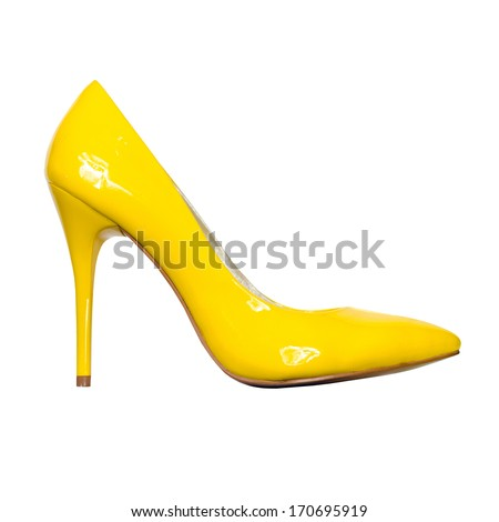 yellow patent leather shoes isolated on white background - stock photo