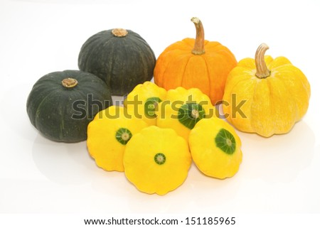 Yellow Patty Pan And Pumpkin - stock photo