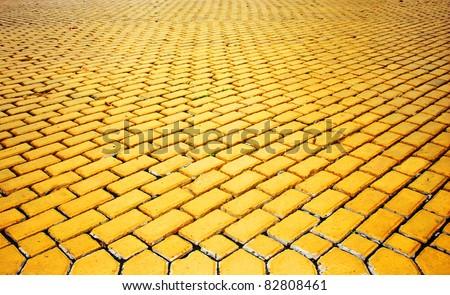 yellow pavement - stock photo
