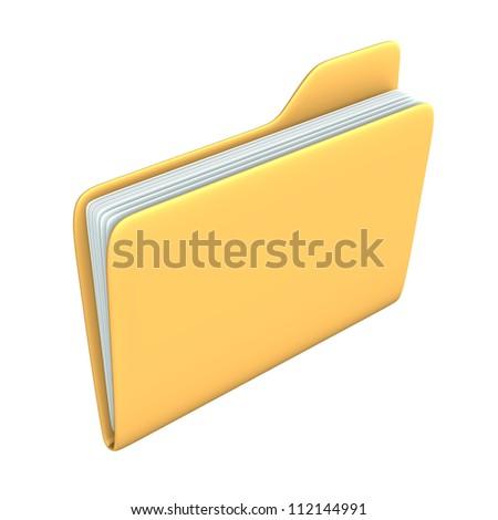 Yellow pc folder on the white background. - stock photo