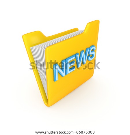 Yellow PC folder with a blue inscription NEWS.Isolated on white background.3d rendered.