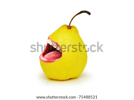 Yellow pear with open mouth on white - stock photo