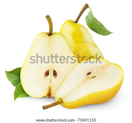 Yellow pears isolated on white - stock photo
