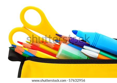 Yellow pencil box isolated on white background - stock photo