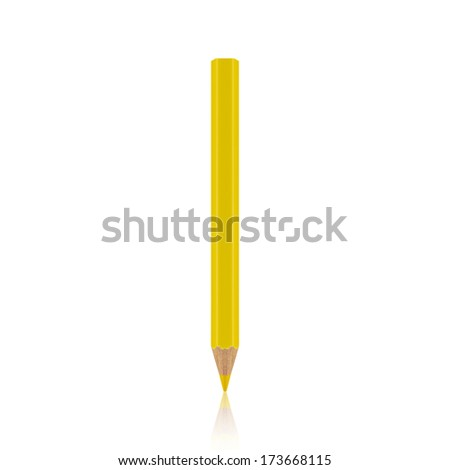 yellow pencil isolated on white background - stock photo