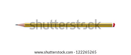 Yellow pencil isolated on white background with clipping path - stock photo