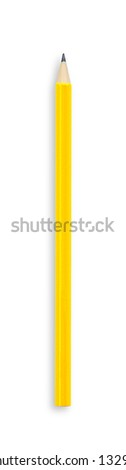 Yellow pencil isolated on white with clipping path. - stock photo