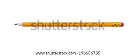 Yellow pencil on white background - stock photo