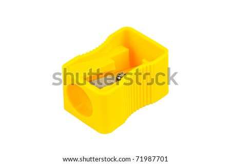 Yellow pencil-sharpener isolate - stock photo