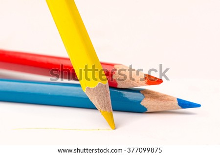 yellow pencil with line over white background - stock photo