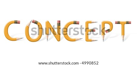 Yellow pencils bent into Concept word isolated on white