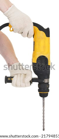 Yellow perforator in hands on a white background