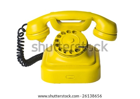 Yellow phone (included path) - stock photo