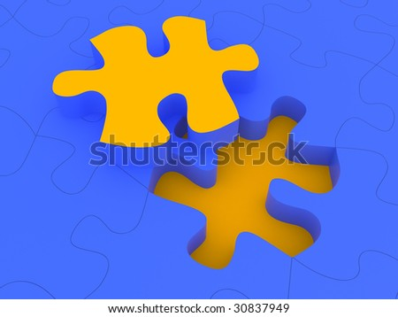 yellow piece puzzle on blue puzzle background
