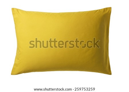 Yellow Pillow isolated on White Background. Top View of a Soft Colorful Pillow with Copy Space for Tex or Image - stock photo