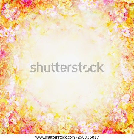 yellow pink blurry floral background, flowers frame - stock photo