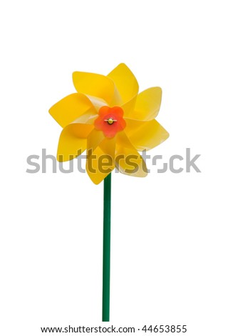Yellow pinwheel isolated on white background, clipping path included - stock photo