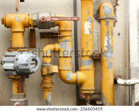 yellow pipes - stock photo