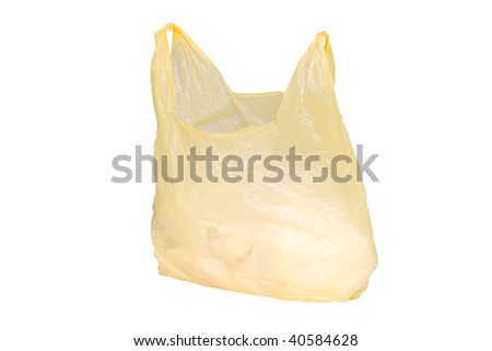 yellow plastic bag under the white background