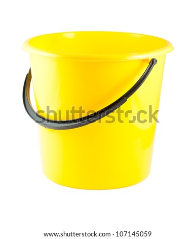Yellow plastic bucket isolated on white background