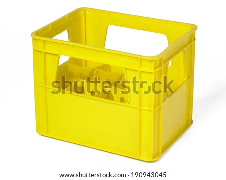 Yellow plastic case for bottles isolated on white. Horizontal