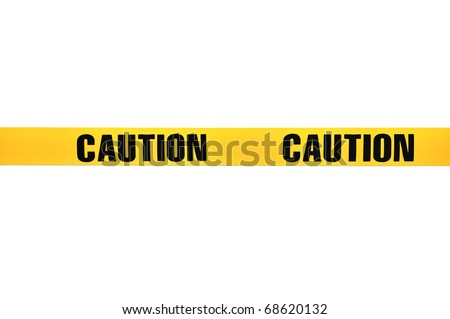 """Yellow plastic """"Caution"""" tape isolated on white background - stock photo"""