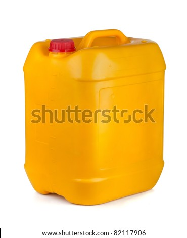Yellow plastic container with lid and handle isolated on white - stock photo