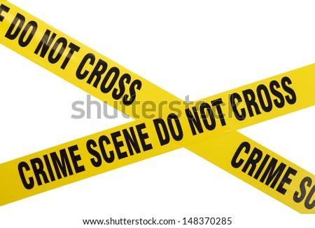 Yellow Plastic Crime Scene Do Not Cross Tape Isolated On White Background. - stock photo