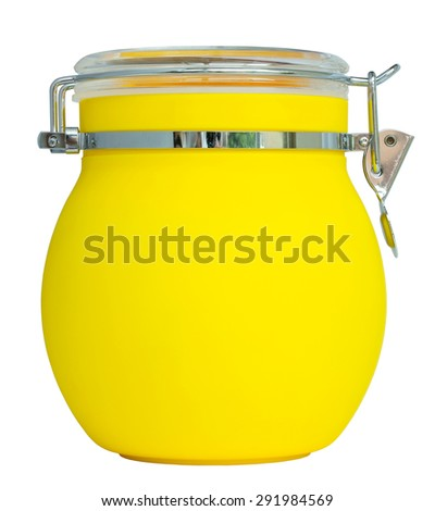 yellow plastic jar isolated on white with clipping path - stock photo